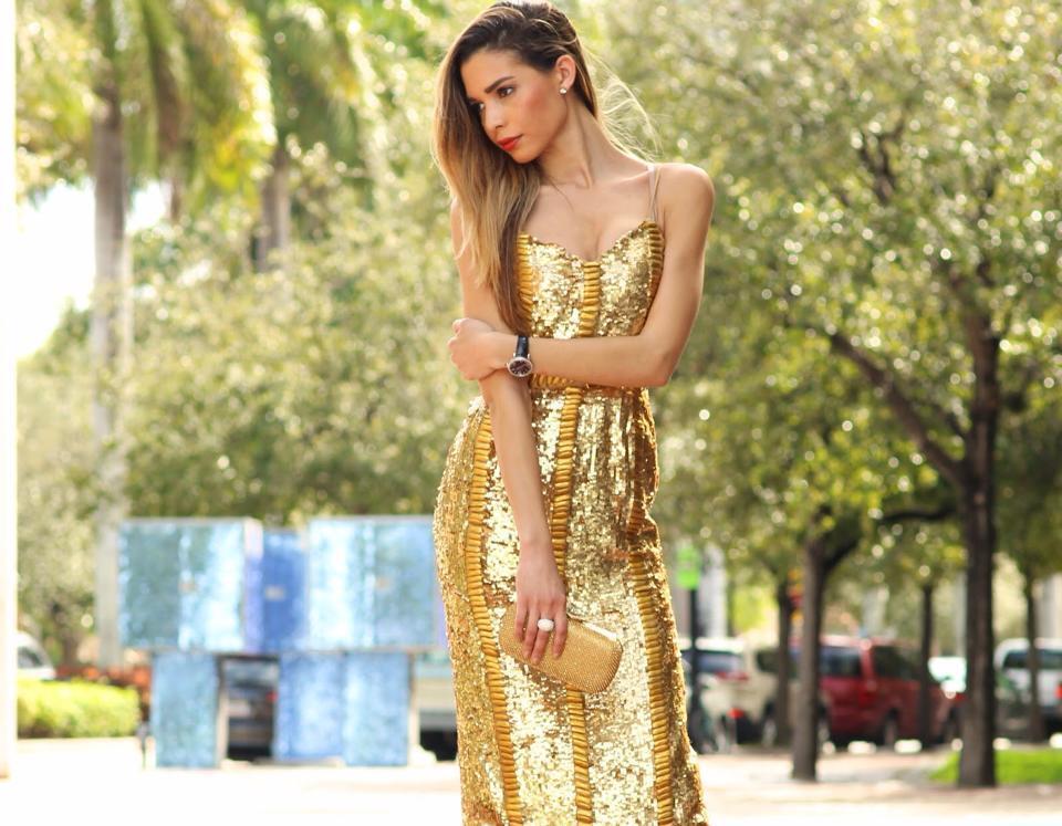 Virgos Lounge color gold da Matrimonio Sera Ballo Vestito Attillato UK8 EUR36 US4