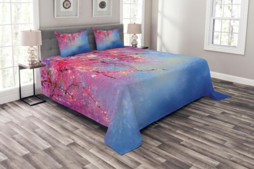 Sakura Spring Print Japanese Quilted Bedspread /& Pillow Shams Set