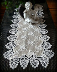 """Dresser Scarf Lace Table Runner 37"""" Doily Neutral Burlap Victorian Taupe Antique"""