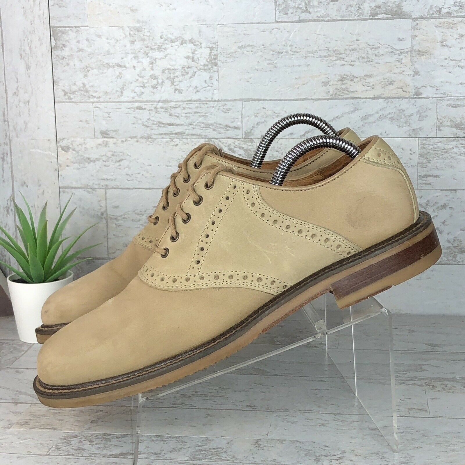 Johnston & Murphy Made in ITALY Oxford Tan Nubuck Leather Men's Size 8 M GUC