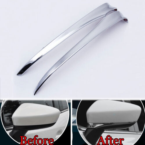 Chrome ABS Rearview Side Door Mirror Cover Trim Strip For Mazda 6 Atenza 2014-17
