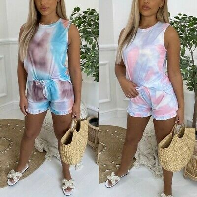 UK Women Ladies Summer Tie Dye Sleeveless Top Short Co-Ord Suit 2 Separates Set