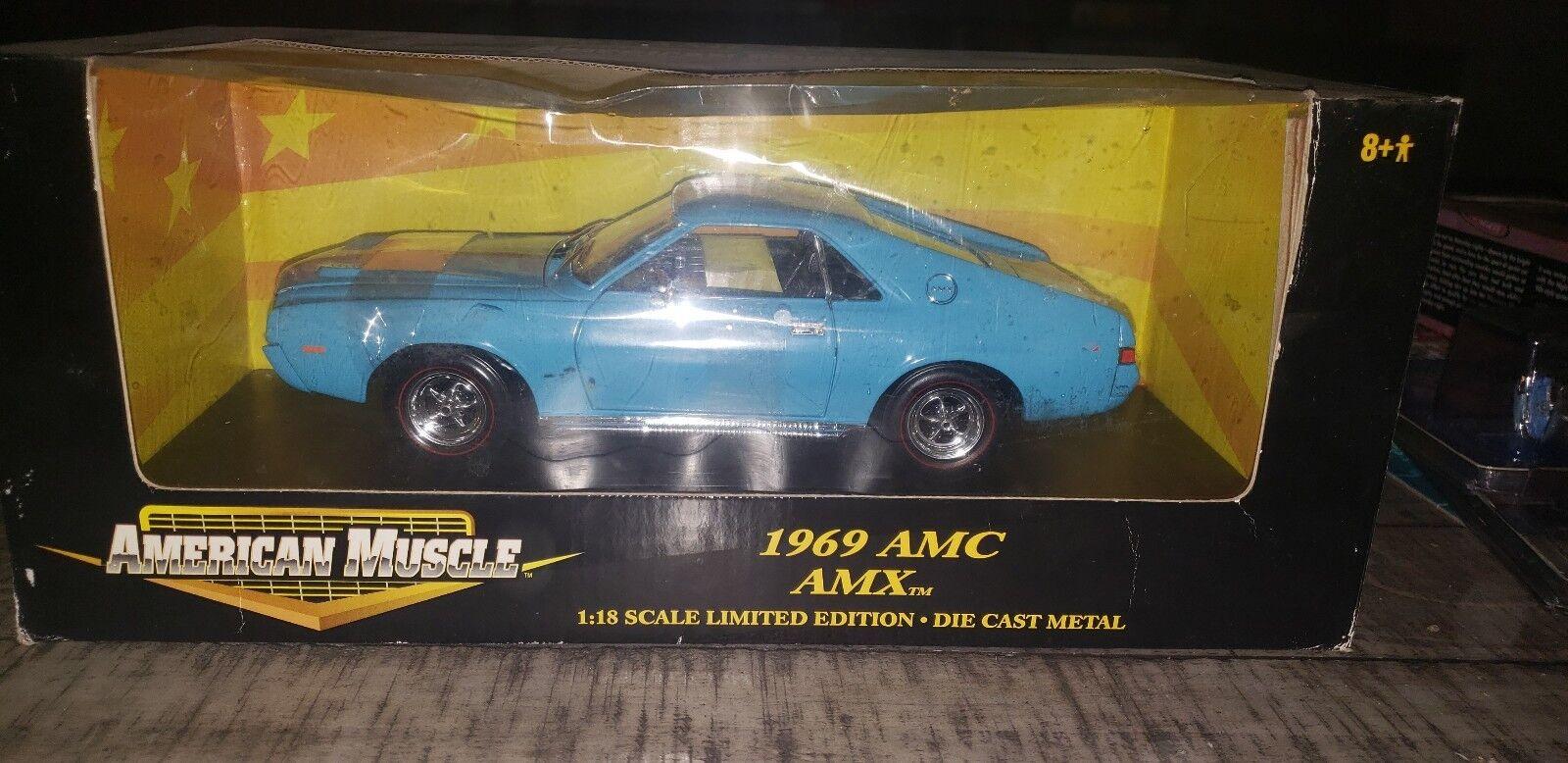 Blu 1969 AMC AMX AMX AMX American Muscle 1 18 Scale dba3fa