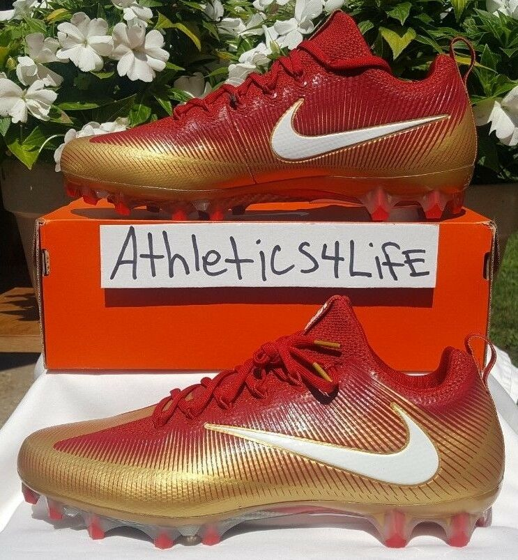5ce269990 NIKE VAPOR UNTOUCHABLE PRO FOOTBALL CLEATS SIZE 11.5 RED gold WHITE  925423-728