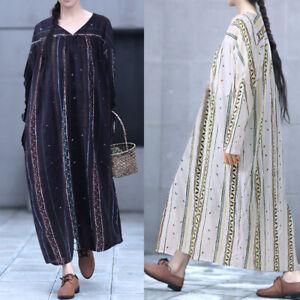 S-5XL-Women-V-Neck-Long-Maxi-Dress-Floral-Print-Kaftan-Full-Length-Shirt-Dress