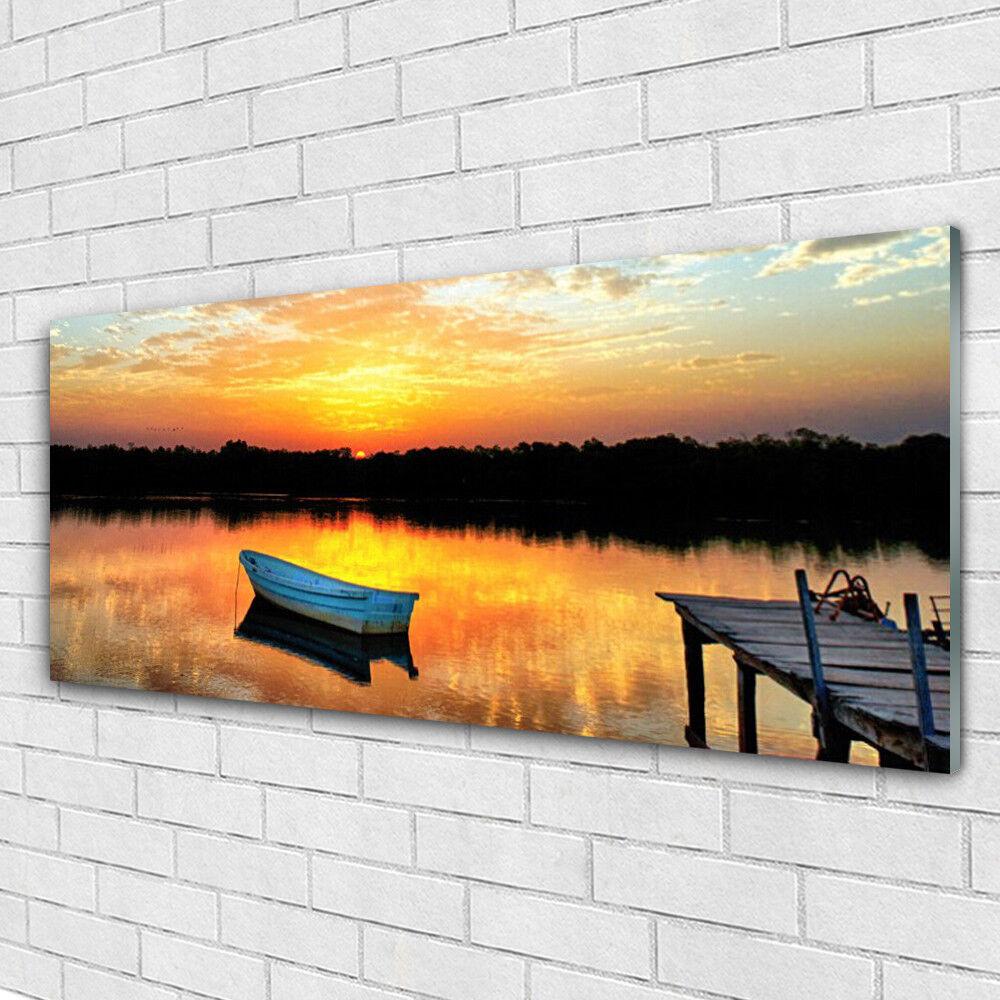Cristal acrílico imágenes Boot murales presión 125x50 Boot imágenes puente lago paisaje f204b4