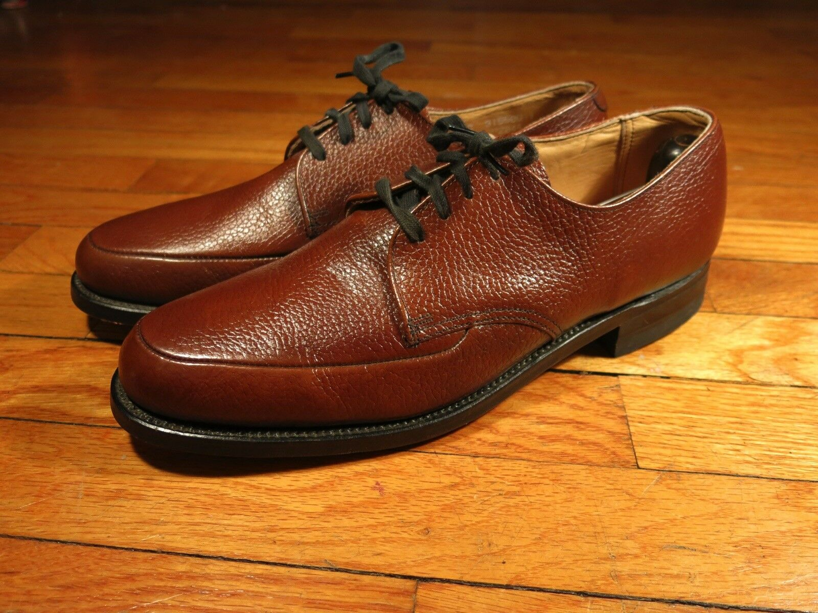 Nos para hombre 9.5 C Weyenberg marrón guijarro cuero Delantal derbis del dedo del pie