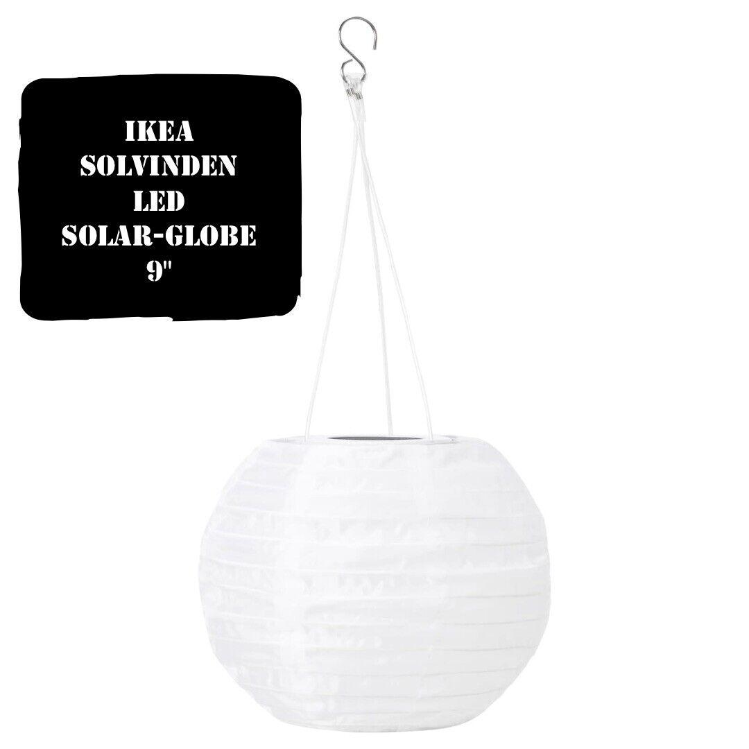 New SOLVINDEN LED solar-powered pendant lamp globe white,45 cm IKEA outdoor