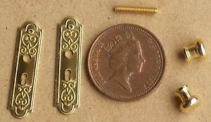 Escala 1:12 de metal victoriano Conjunto de placas y las perillas de puerta tumdee Casa De Muñecas hágalo usted mismo 605
