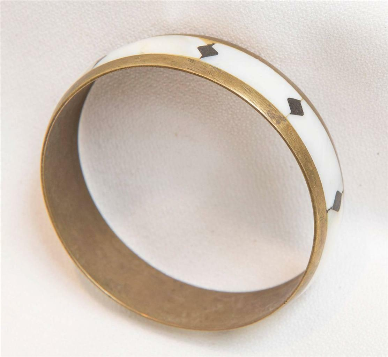 Vintage Brass & Pearlescent Inlay Bracelet tob
