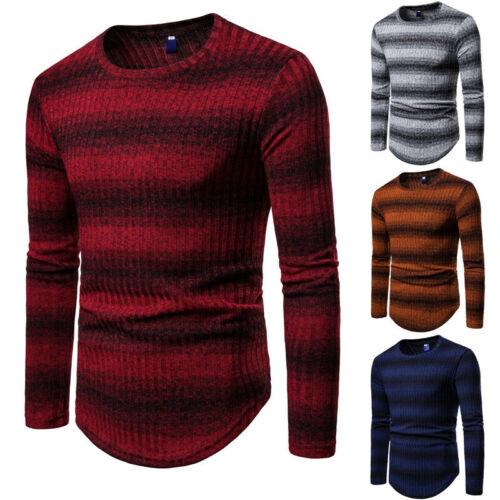 US Men/'s Round Neck Pullover Knitwear Striped Gradient Slim Sweater Warm Top 4XL