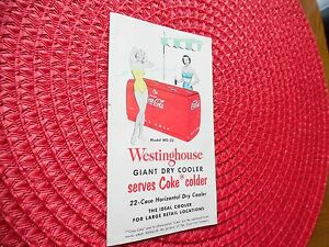 vtg wd 22 westinghouse coca cola giant dry cooler fold out brochure