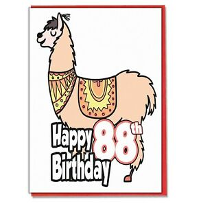 Image Is Loading Llama 88th Birthday Card Husband Wife Boyfriend Girlfriend