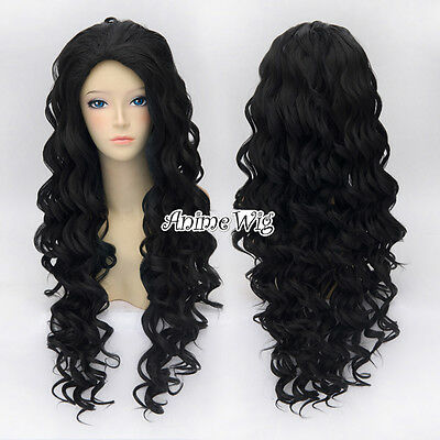 Black Anime Cosplay Synthetic Hot Sale 80cm Curly Hair Wig + Free Wig Cap
