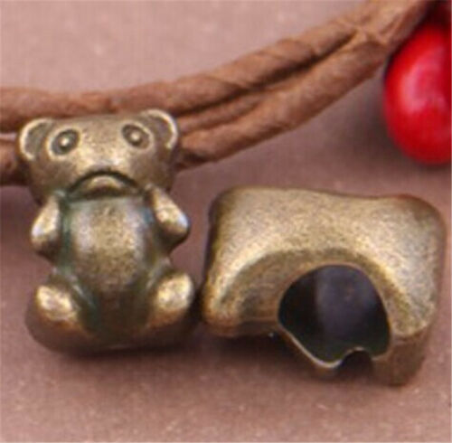 PJ588 15pc Antique Bronze bear Charm Spacer Beads accessories wholesale