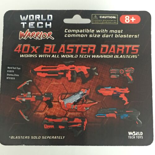World Tech Warrior 40X Blaster Black Darts Soft Rubber Red Tip Toy Gift Games