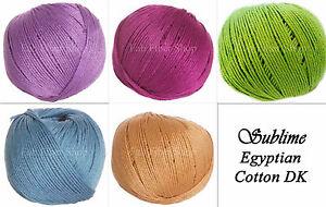 Sublime-100-Mercerized-Egyptian-Cotton-DK-Yarn-Color-Choice-Knit-Crochet-FS