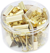Gold Binder Clips Paper Clamps Assorted Sizes Set Small Medium Large For Of