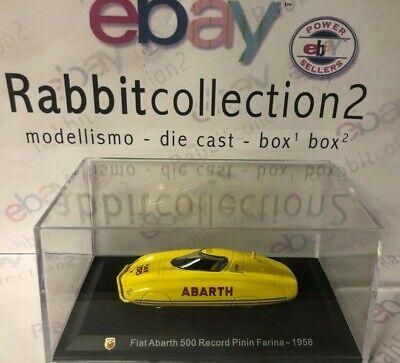 """Die Cast """" Fiat Abarth 500 Record Pinin Farina - 1958 """" + Teca Box 2 Scala 1/43 Paghi Uno Prendi Due"""
