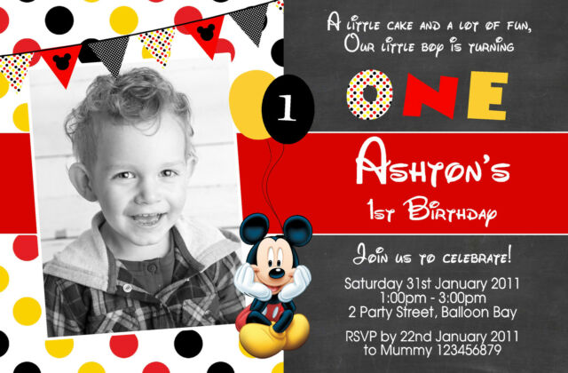 Personalised Baby Mickey Minnie Mouse Birthday Invitations Photo 1st 2nd invites
