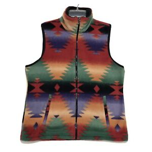 CHAPS-Petite-SOFT-Fleece-Vest-Womens-Sz-PL-Large-Aztec-Southwest-Zip-Up-Mock