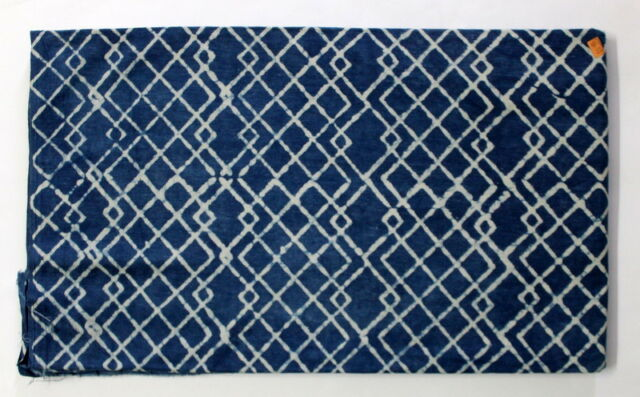 Indigo Hand Block Print Natural Fabric Indian Running 100% Cotton