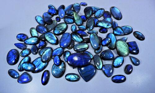 NATURAL BLUE LABRADORITE MIX SHAPE CABOCHON LOOSE GEMSTONE WHOLESALE LOT el209