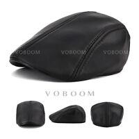 Genuine Leather Black Newsboy Gatsby Cabbie Flat Driver Ivy Ascot Hat Cap