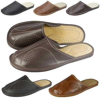 Para hombres Cuero Elegante Zapatillas Zapatos Mulas, hecho a mano Varios Colores Talla 6 - 12