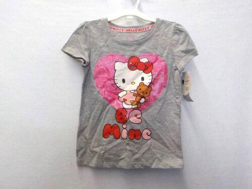 "Girl/'s Size 4T Hello Kitty Gray//Pink /""Be Mine/"" Short Sleeve Tee New Nwt #12747"