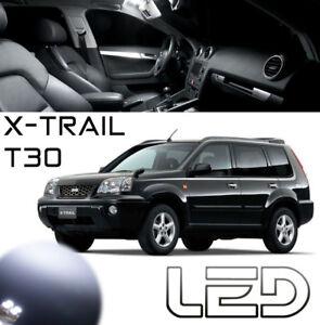 Nissan-X-TRAIL-T30-7-Ampoules-LED-Blanc-interieur-plafonnier-Miroirs-Coffre