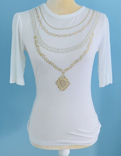 St John Womens Shirt Embellished White With Gold S