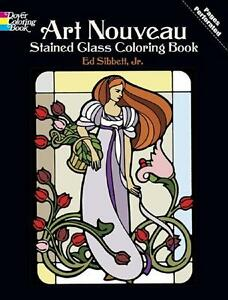 ADULT COLORING BOOK ART NOUVEAU STAINED GLASS