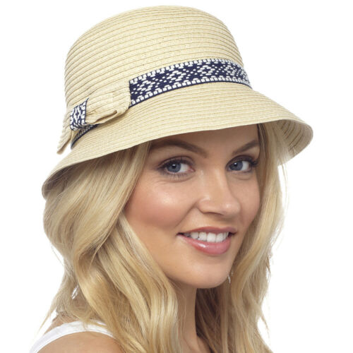 Ladies Cloche Bucket Sun Hat with Band and Bow Detail