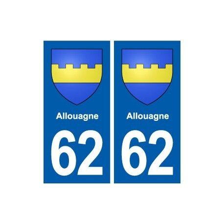 62 Allouagne blason autocollant plaque stickers ville -  Angles : droits