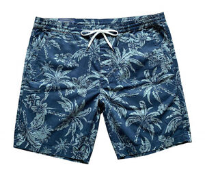 Polo-Ralph-Lauren-Mens-Big-amp-Tall-Tropical-Hawaiian-Print-Shorts-Blue-Green