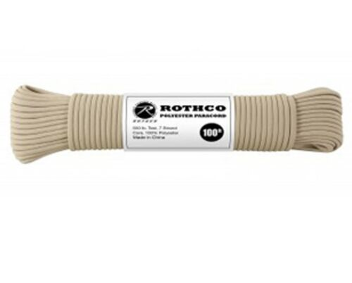 550LB 7 Strand Tan 100/% Polyester Type III Paracord Rope 100 Feet Rothco 30801