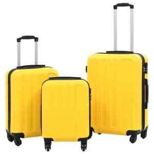 vidaXL-3-Piece-Hardcase-Trolley-Set-Yellow-ABS-Travel-Luggage-Bag-Suitcase