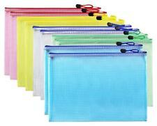 Eoout 10pcs A4 Mesh Zipper Pouch Zip File Bag Document Folder Office 5 Assorted