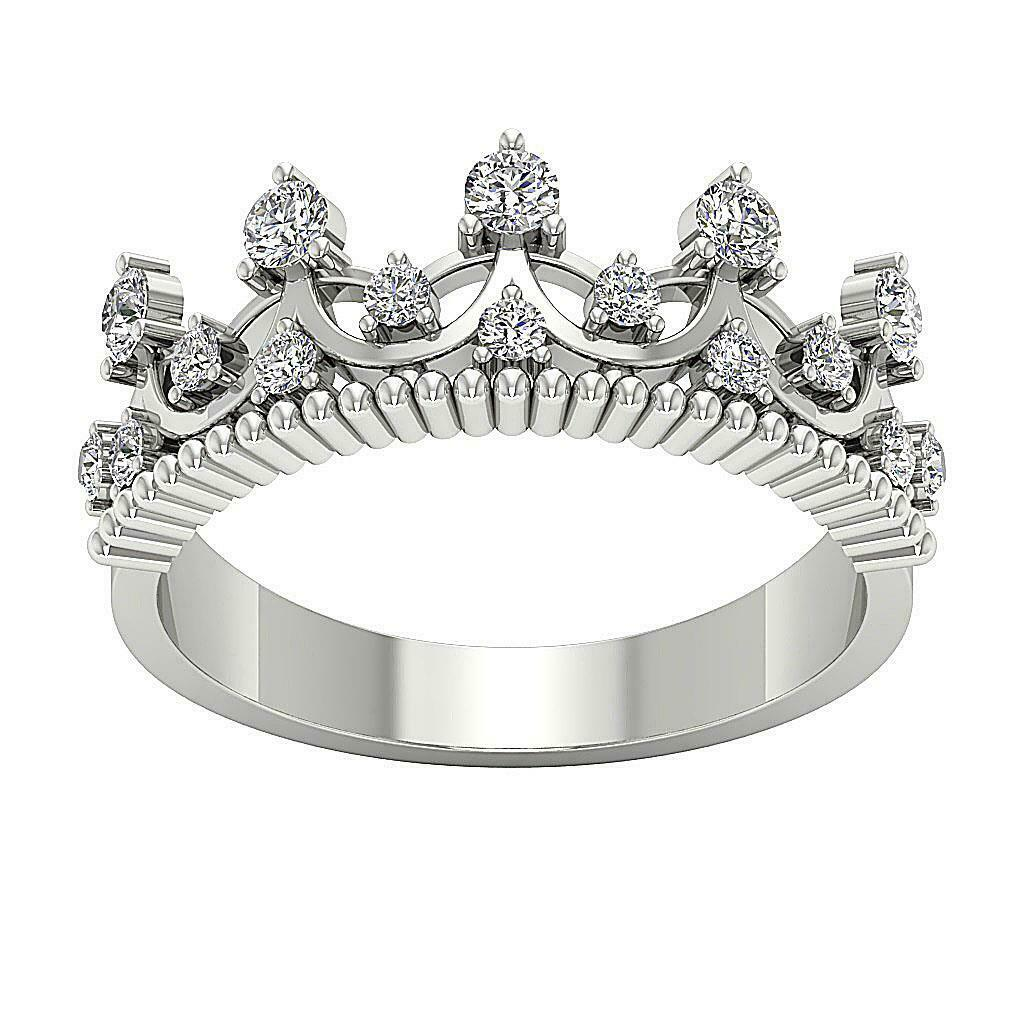 Crown Anniversary Ring I1 G 0.70Ct Round Diamond 14K Solid gold Appraisal 8.30MM