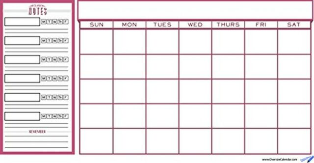 college student planner and wall calendar - red