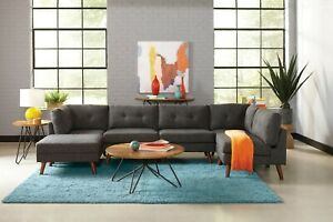 Mid Century Mod Charcoal Grey Modular Sofa Sectional Living Room