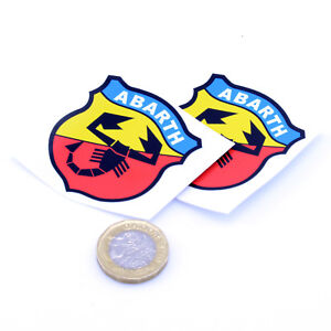x2-Fiat-Abarth-Badge-Decal-Vinyl-Car-Red-STICKERS-50mm-Race-Racing-Rally