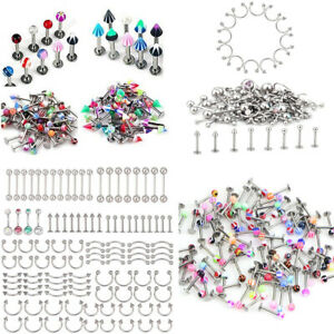 Lot-110PCS-Mixed-Body-Jewelry-Piercing-Eyebrow-Navel-Belly-Tongue-Lip-Bar-Ring