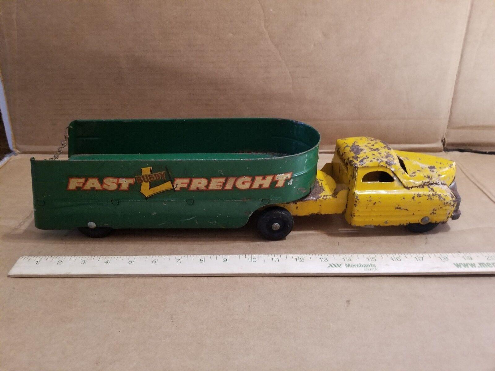 BUDDY L FAST FREIGHT SEMI SEMI SEMI TRUCK & TRAILER  PRESSED STEEL toy East Moline ILL ed9