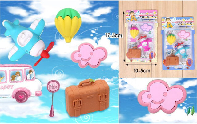 WACKY rubber PUZZLE erasers air travel hot balloon plane cloud luggage suitcase
