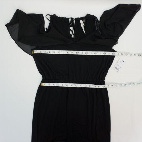 NY Collection Womens Chiffon Ruffle Cold Shoulder Maxi Long Dress Black $70