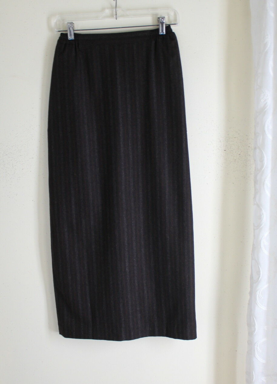 Eskandar -Sz 0 Rich Exquisite Exquisite Exquisite 100% Cashmere Fine Stripe Brown Straight Skirt 074d3b