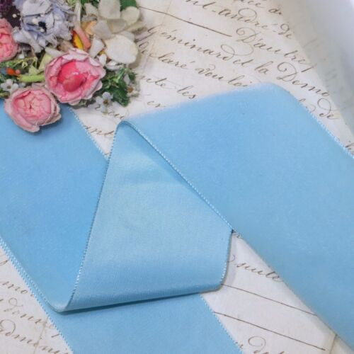 """1y 2/"""" SKY BLUE FRENCH VELVET RIBBON RAYON FAILLE SATIN MILLINERY HAT FABRIC JACQ"""