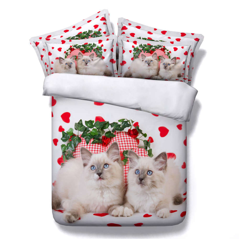 Short White Cat 3D Printing Duvet Quilt Doona Covers Pillow Case Bedding Sets